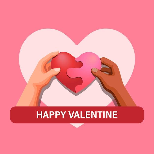 Due persone tengono in mano il puzzle del cuore, amano il concetto di simbolo di diversità nel modello dell'illustrazione del fumetto Vettore Premium