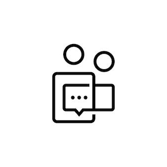 Due persone parlano dell'icona del vettore del logo della conferenza di comunicazione della bolla di chat del gruppo 2