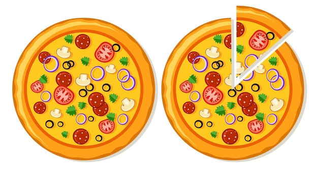 Due pizze intere e con una fetta affettata. vista dall'alto