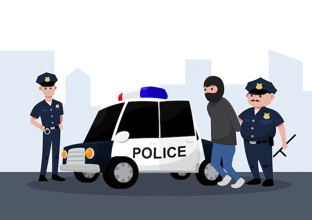 Due agenti di polizia che arrestano un criminale in un'auto della polizia, stile cartone animato piatto.
