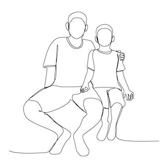 Due bambini in età prescolare ragazzo e suo fratello si siedono insieme all'aperto con un disegno a tratteggio. illustrazione di disegno di arte di linea con sfondo wih.