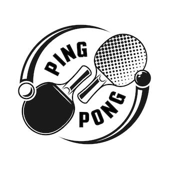 Due racchette per il concetto di logo vettoriale di ping pong o ping pong isolato su sfondo bianco