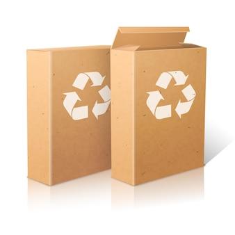 Due realistici pacchetti artigianali di carta bianca con segno di riciclo per cereali muesli cornflakes ecc