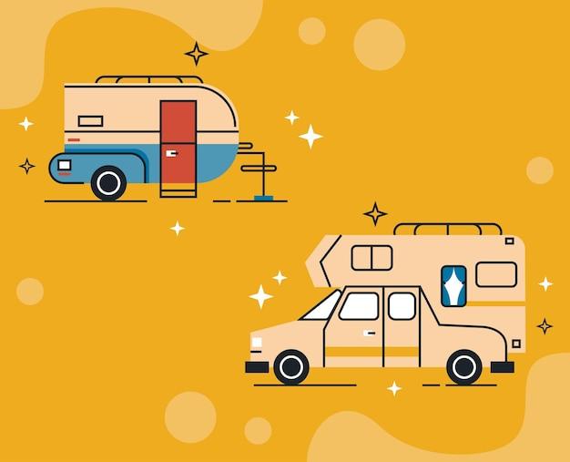 Due stili di set di veicoli ricreazionali