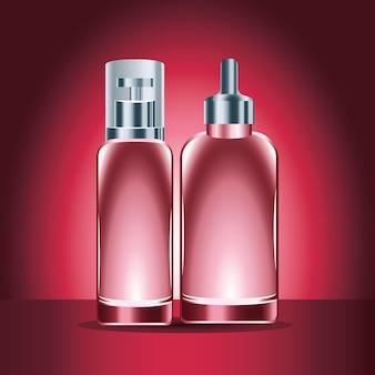 Illustrazione rossa delle icone dei prodotti delle bottiglie di cura della pelle due