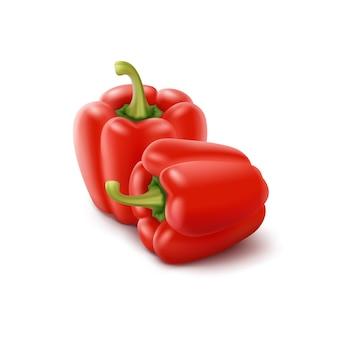 Due peperoni dolci bulgari dolci rossi, paprika