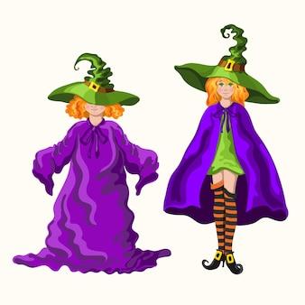 Due giovani streghe in stile cartone animato rosse con i cappelli magici isolati sullo sfondo bianco
