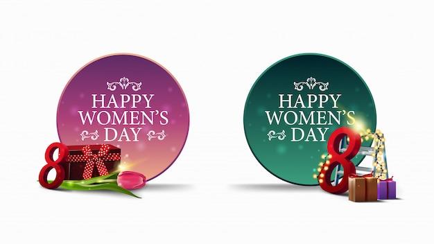 Due striscioni di auguri rotondi per la festa della donna