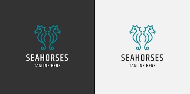 Logo di linea di due cavallucci marini. stile piatto