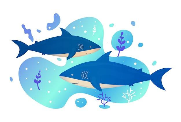 Due squali in mare. pesce dell'oceano. vita selvaggia marina subacquea. illustrazione.
