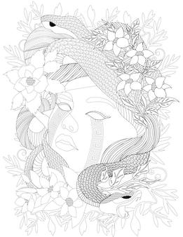 Due piccoli serpenti avvolti intorno alla testa di donna con fiori incolori che disegnano una signora con vipere
