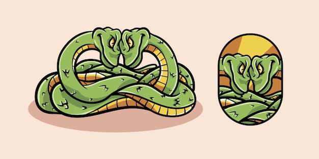 Personaggio mascotte dei cartoni animati di combattimento di due serpenti