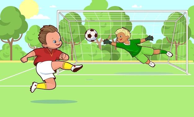 Due giocatori di calcio che giocano a calcio sul campo che segnano un goal cartoon
