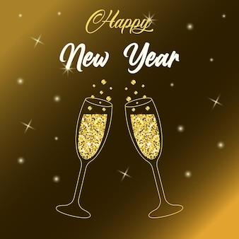 Due scintillanti bicchieri di champagne con glitter dorati. iscrizione di felice anno nuovo. sfondo colorato con luce stellare.