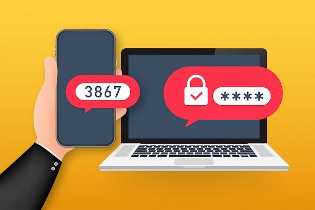 Illustrazione o autenticazione in due passaggi login o accesso per la sicurezza di smartphone e computer del fumetto. illustrazione.