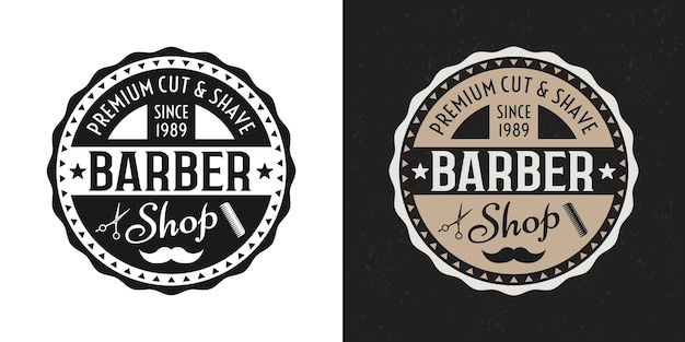 Distintivo rotondo, emblema, etichetta o logo da barbiere in due stili su sfondo bianco e scuro