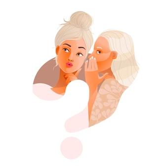 Due ragazze modello alla moda spettegolare. punto interrogativo. una ragazza bionda eccitata sussurra segreti o voci private alla sua amica. colori pastello pallidi