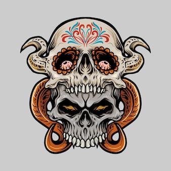 Due illustrazioni di dia de los muertos del cranio dello zucchero