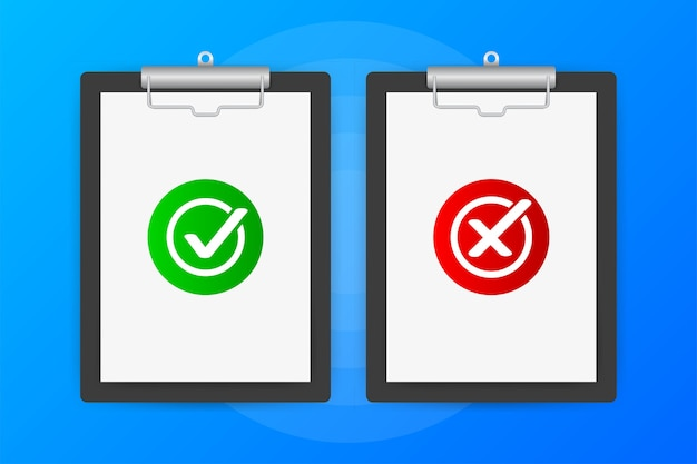 Due tablet con sì o no segni su sfondo blu.