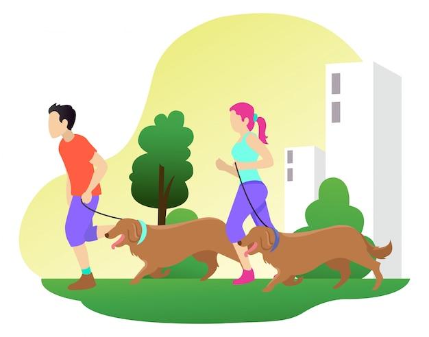 Due adolescenti fanno jogging con un cane