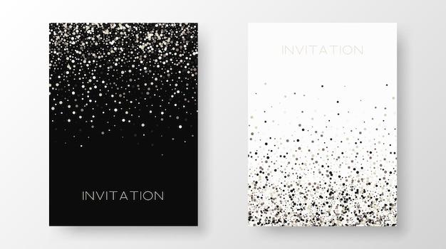 Due modelli di invito con paillettes dorate. cartoline di design festose, inviti, brochure