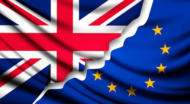 Due bandiere strappate - ue e regno unito. concetto di brexit. vettore.