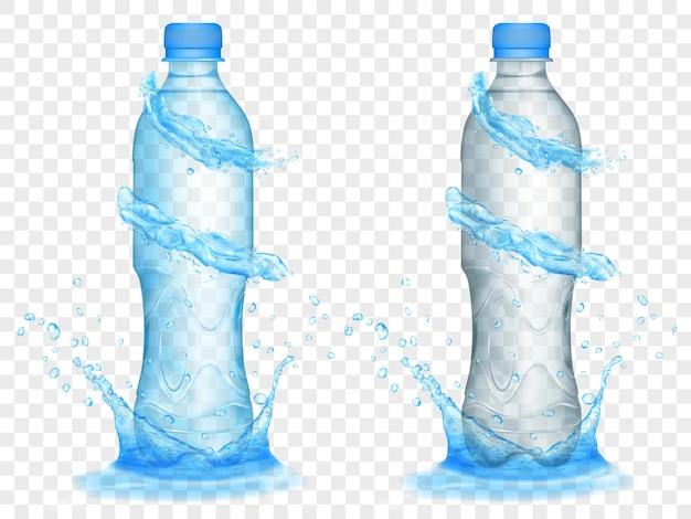 Due bottiglie di plastica traslucida nei colori azzurro e grigio con corone d'acqua e spruzzi, isolate su sfondo trasparente.