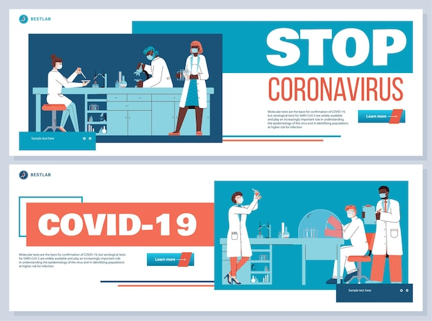 Due striscioni vettoriali con il concetto di ricerca sul coronavirus