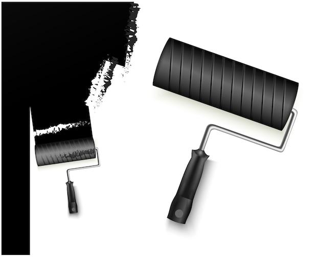 Due illustrazione vettoriale con rullo di vernice grandi e piccoli e marcatura verniciata colore nero isolato su bianco