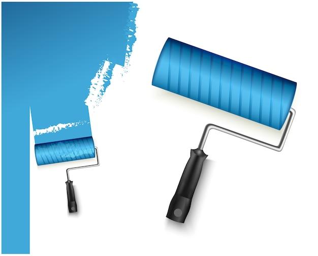 Due illustrazione vettoriale con rullo di vernice grandi e piccoli e contrassegno dipinto di colore blu isolato su bianco