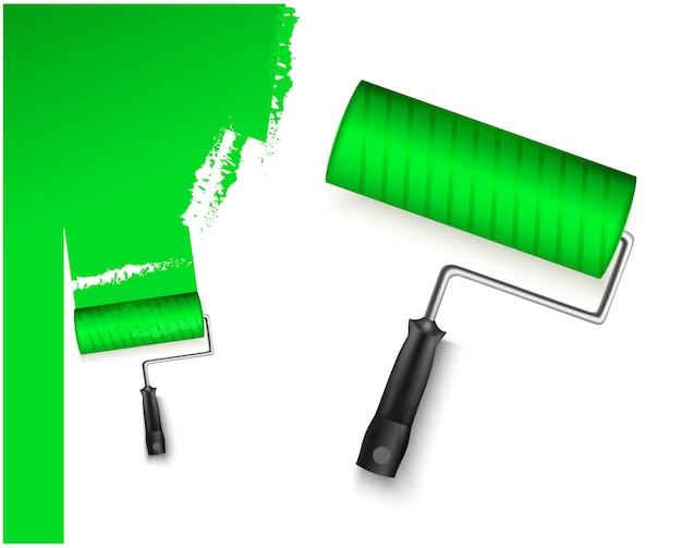 Due illustrazione vettoriale con rullo di vernice grandi e piccoli e marcatura verniciata di colore verde isolato su bianco
