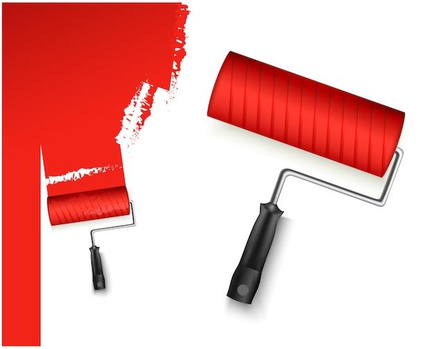 Due illustrazione vettoriale con rullo di vernice grandi e piccoli e contrassegno dipinto di colore rosso isolato su bianco