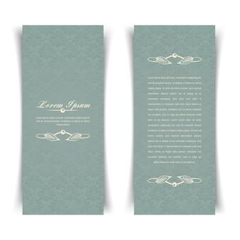 Carta grigio-blu vintage due verticali con elementi di disegno floreale