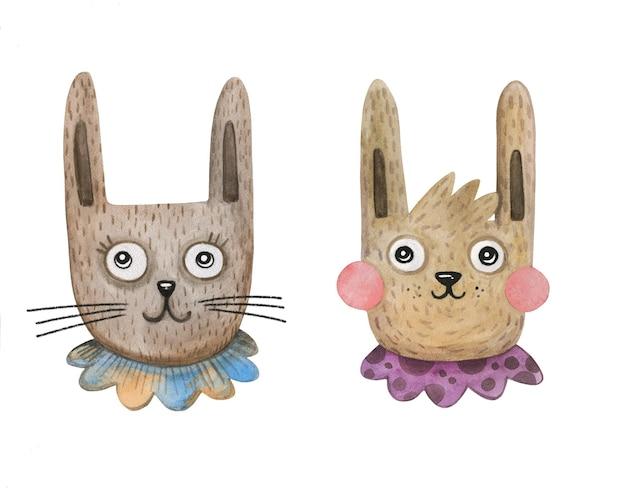 Due conigli pasquali vintage disegnati a mano in acquerello con colletti in pizzo