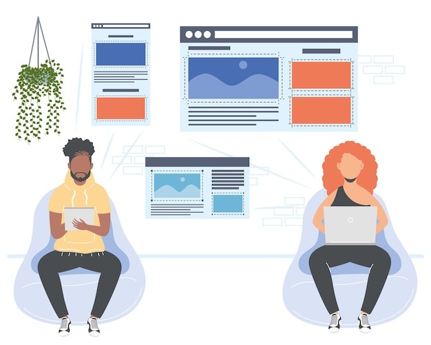 Due personaggi lavoratori web designer