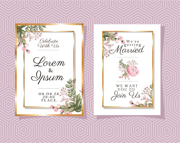 Due inviti di nozze con cornici di ornamento d'oro e fiori di rosa su sfondo viola