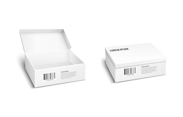 Due pacchi o scatole vettoriali bianchi, uno con il coperchio aperto e l'altro chiuso per lo stoccaggio di prodotti e merci con un codice a barre dell'inventario per la spedizione o la spedizione