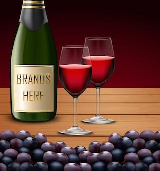 Due bicchieri da vino e bottiglie di champagne