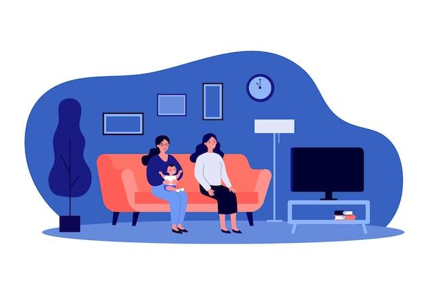 Due donne e bambini che guardano la tv. illustrazione di genitori gay