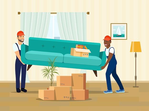 Due operai trasportano un divano. scatole per trasloco nella nuova casa. illustrazione di stile piatto vettoriale