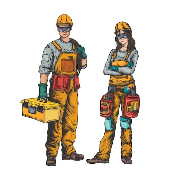 Due caratteri dei lavoratori costruzione maschio e femmina nell'illustrazione uniforme