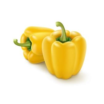 Due peperoni dolci bulgari dolci gialli, paprica isolata su fondo bianco