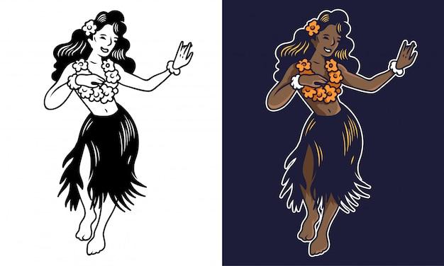 Ragazza di hula di due giovani sorrisi svegli che balla sulla festa.