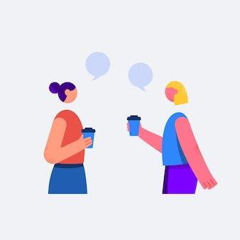 Due giovani amici che parlano fuori in un design piatto
