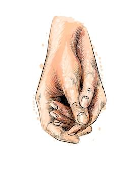 Due giovani amanti che tengono le mani da una spruzzata di acquerello, schizzo disegnato a mano. illustrazione di vernici