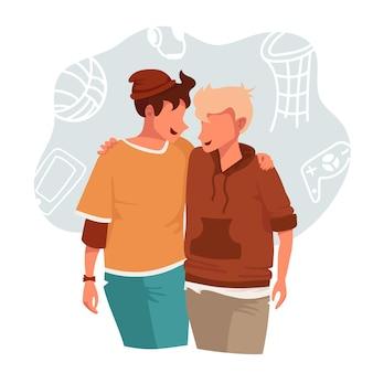 Due giovani adolescenti che si abbracciano. illustrazione
