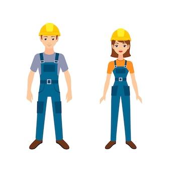 Due giovani lavoratori. illustrazione isolati su sfondo bianco