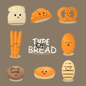 Tipo di focacce di pane biscotto al cioccolato bagel ciambella baguette croissant muffin illustrazione mascotte