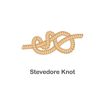Tipo di nodo stivatore nodo nautico o marino per corda con un ciclo, mare realistico isolato.