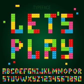 Alfabeto carattere tipografico con blocchi di costruzione